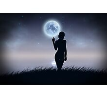 Girl touch the moon Photographic Print