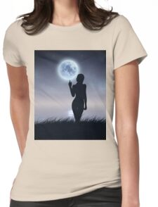 Girl touch the moon Womens Fitted T-Shirt