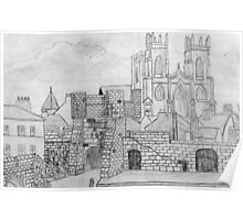 My Pencil Drawing of Bootham Gate and York Minster - all products Poster