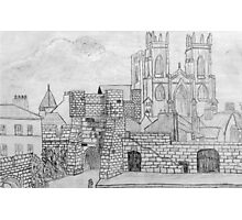 My Pencil Drawing of Bootham Gate and York Minster Photographic Print