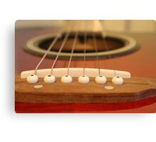Close up of classical guitar looking down the neck Canvas Print