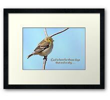 God is here for those days that end in why . . . Framed Print