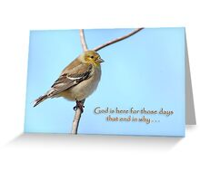 God is here for those days that end in why . . . Greeting Card