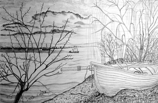 The Danube and A Boat a pencil drawing - all products bar duvet by Dennis Melling