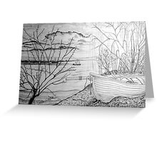 The Danube and A Boat a pencil drawing Greeting Card