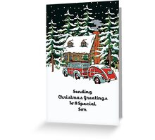 Son Sending Christmas Greetings Card Greeting Card
