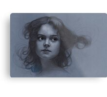 Vintage girl art - surreal drawing on blue paper Metal Print