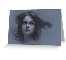 Vintage girl art - surreal drawing on blue paper Greeting Card