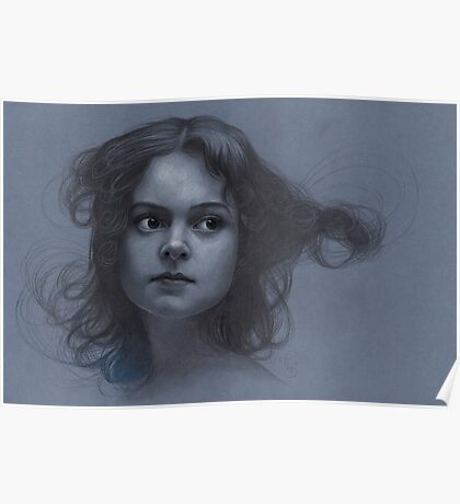 Vintage girl art - surreal drawing on blue paper Poster