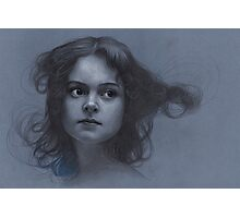 Vintage girl art - surreal drawing on blue paper Photographic Print
