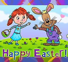 Easter Bunny and Friend by KatrinaArt