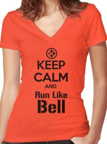 Keep Calm and Run Like Bell .2 Women's Fitted V-Neck T-Shirt