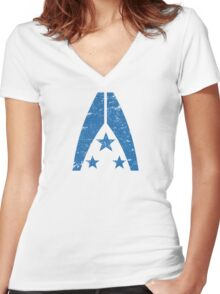 Mass Effect ; Systems Alliance Military (Worn Look) Women's Fitted V-Neck T-Shirt