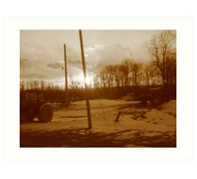 Farm land in Sepia tone Art Print