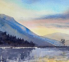 """Evening Falls on Lake Windermere"" by Glenn  Marshall"
