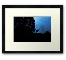 Moon & Deer - JUSTART © Framed Print