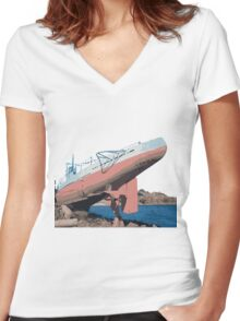 Sub on the Rocks Women's Fitted V-Neck T-Shirt