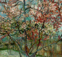 'Pink Peach Trees Souvenir de Mauve' by Vincent Van Gogh (Reproduction) Sticker