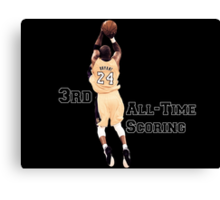 Kobe Bryant  3rd All Time Scoring NBA Lakers Canvas Print