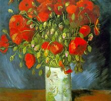 'Red Poppies' by Vincent Van Gogh (Reproduction) by Roz Abellera Art Gallery