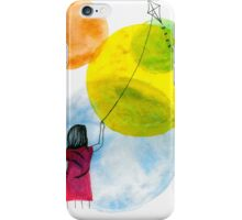 Girl Flying her Kite iPhone Case/Skin