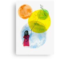 Girl Flying her Kite Canvas Print
