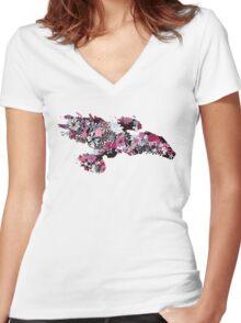 Flowerfly (white variant) Women's Fitted V-Neck T-Shirt
