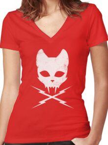 Stunt Kitty Women's Fitted V-Neck T-Shirt