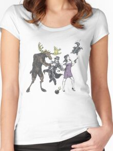 Moose and Squirrel Fight Crime Women's Fitted Scoop T-Shirt