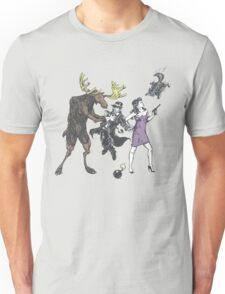 Moose and Squirrel Fight Crime Unisex T-Shirt