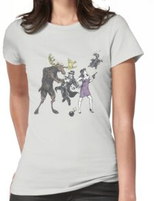 Moose and Squirrel Fight Crime Womens Fitted T-Shirt
