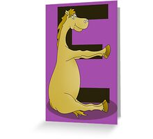Pony Monogram Letter E Greeting Card