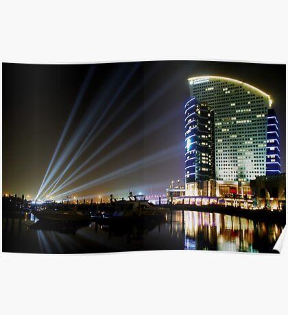 Dubai Intercontinental Hotel at night Poster