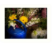 Flowers in a Blue Watering Can Art Print