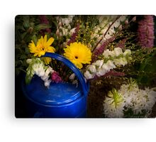 Flowers in a Blue Watering Can Canvas Print
