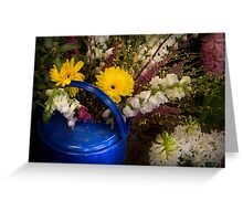 Flowers in a Blue Watering Can Greeting Card