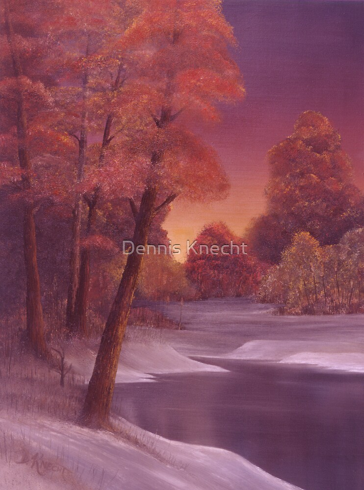 Snow and River Sunset 1 by Dennis Knecht