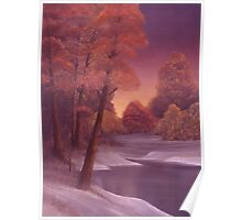 Snow and River Sunset 1 Poster