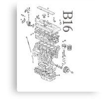 Honda B16 Exploded Blueprint Canvas Print