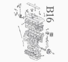 Honda B16 Exploded Blueprint by WinkArt