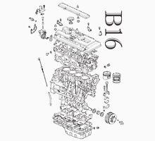 Honda B16 Exploded Blueprint T-Shirt