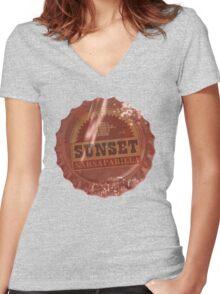 Sunset Sarsaparilla Bottle Cap Women's Fitted V-Neck T-Shirt