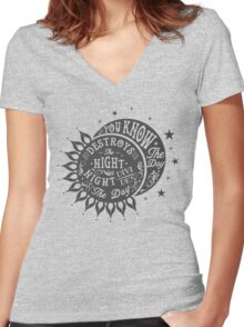 DAY DESTROYS THE NIGHT Women's Fitted V-Neck T-Shirt
