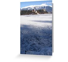 Skate Tracks On A Frozen Lake Bled Greeting Card