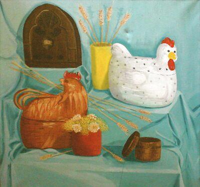 Still Life with Chickens by Rita Deegan