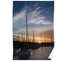 Sunset Harbor Sailboats Poster
