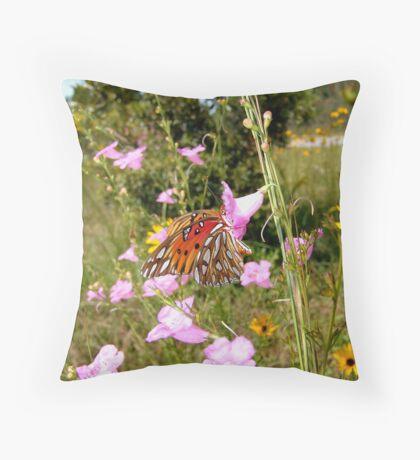 Gulf Fritillary in Purple Gerardia Throw Pillow