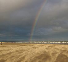 Rainbow in a Sandstorm, St Andrews Beach, Scotland by Rebecca Silverman