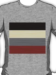 Brush Stroke Stripes: Black, Cream, Grey, and Red T-Shirt