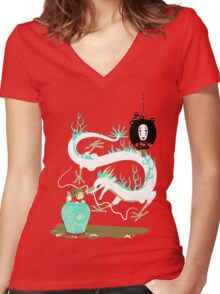 The white dragon Women's Fitted V-Neck T-Shirt